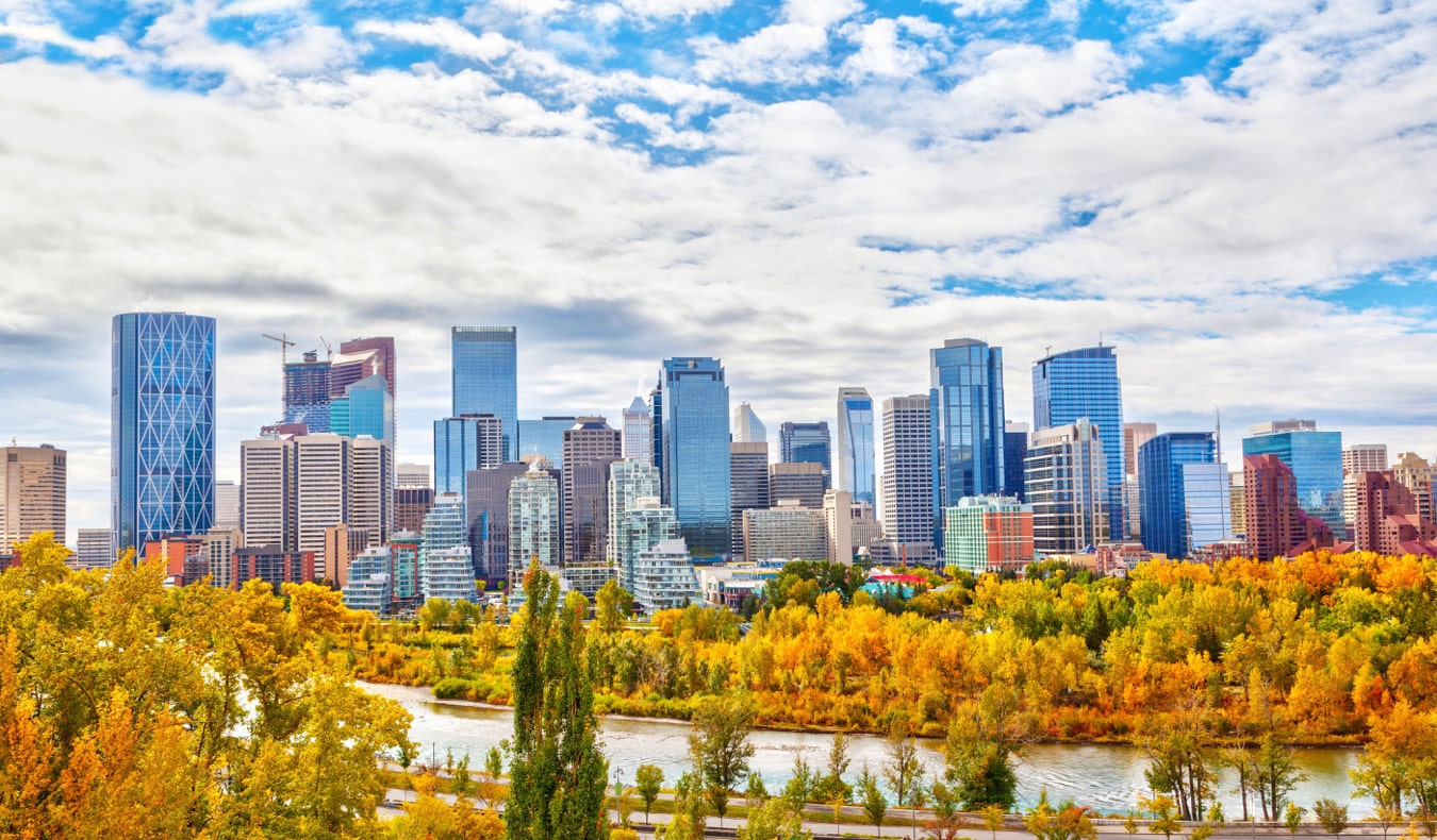 The towering skyline of Calgary, Alberta, Canada in the autumn