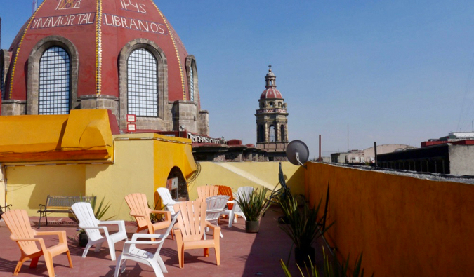 the terrace of the Amigo Suites Inn in Mexico City