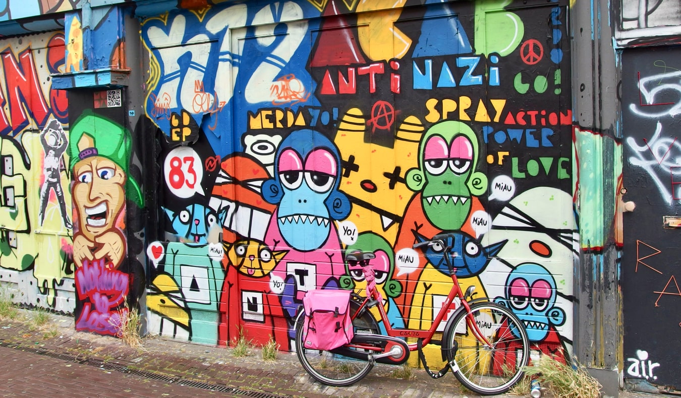Some of the colorful street art of Amsterdam, Netherlands