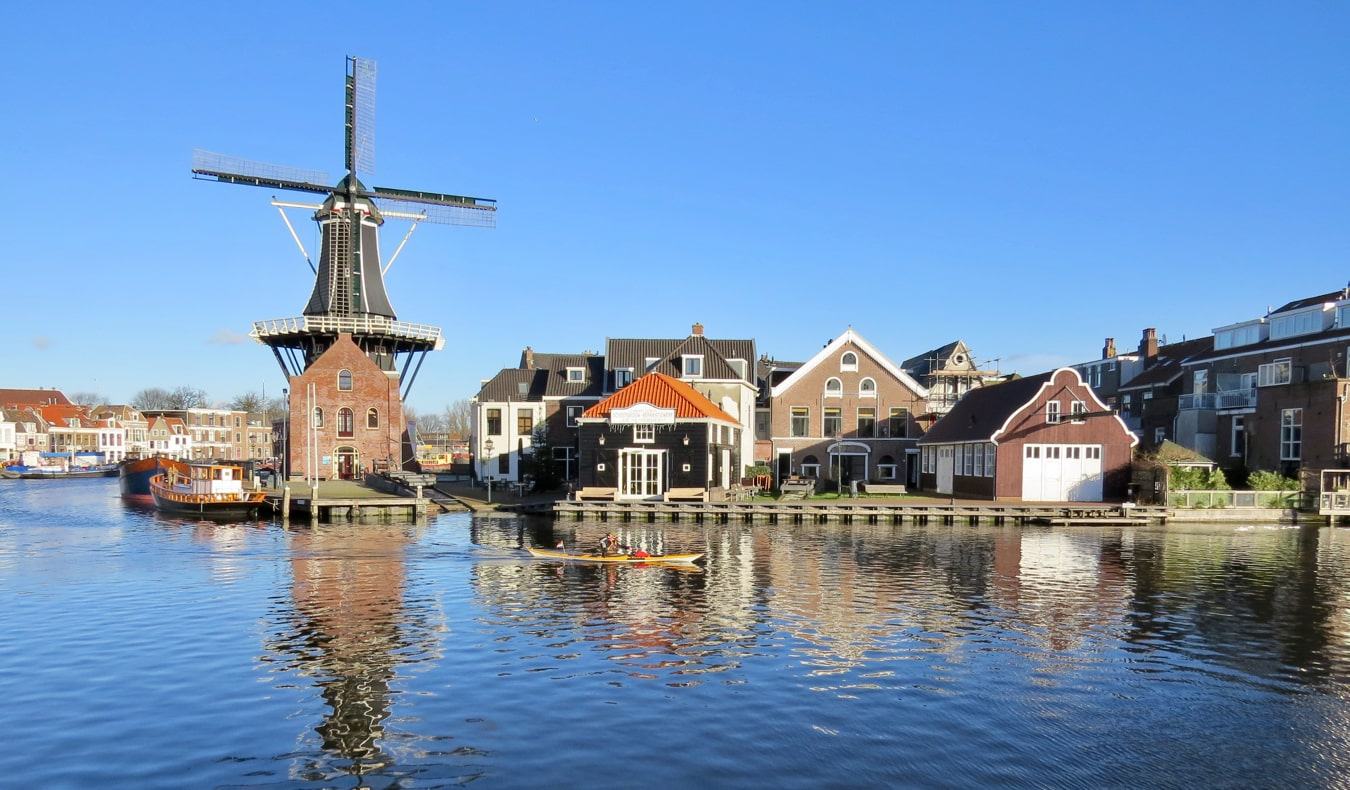 A windmill along the water in Haarlem, Amsterdam, Netherlands