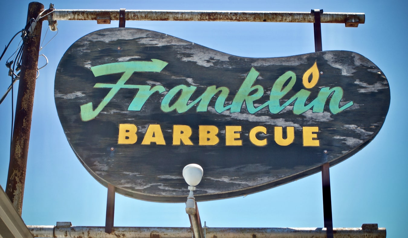 The famous sign for Franklin Barbeque in Austin, Texas