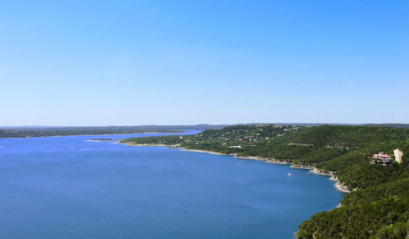 The view of Lake Austin, Texas from above on a bright sunny day