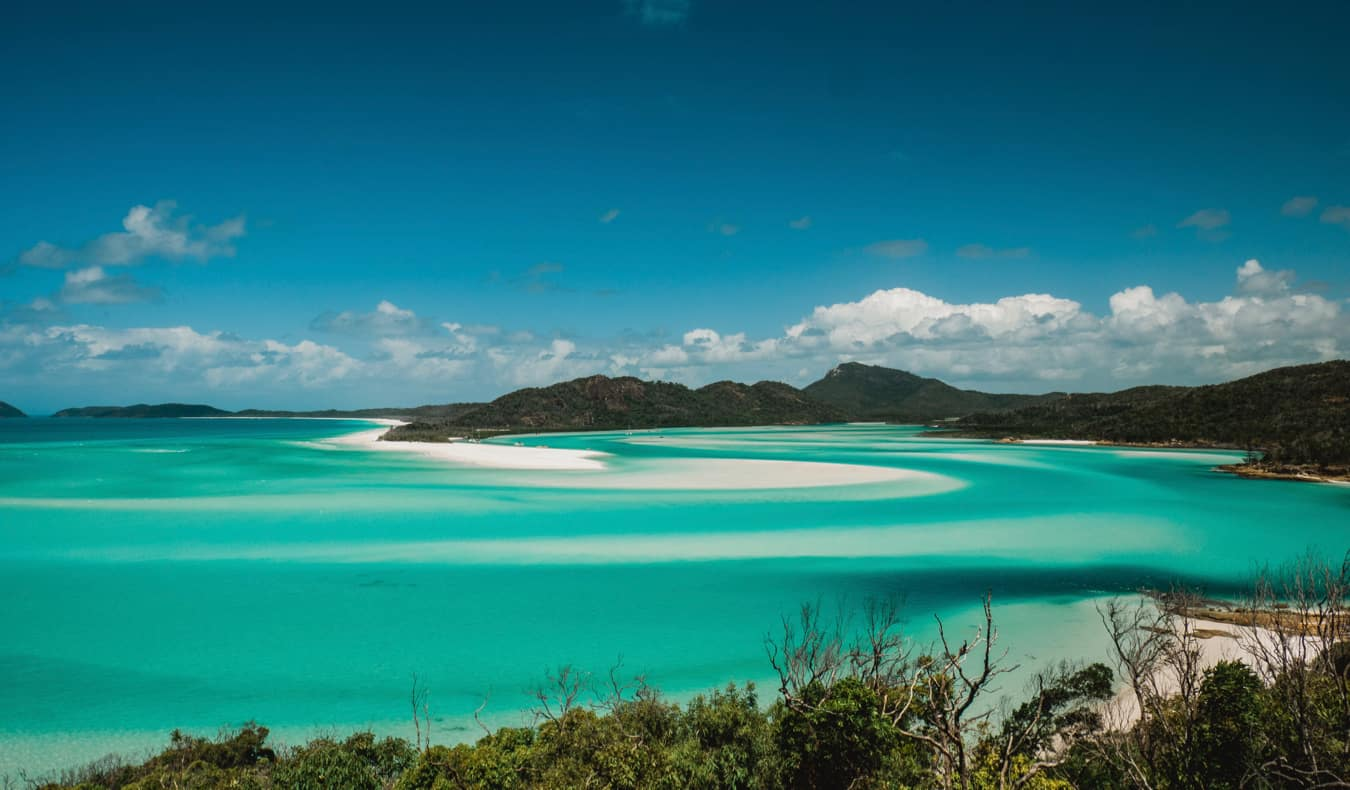 The calm waters of the Whitsunday Islands in Australia
