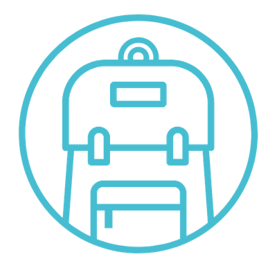 A small graphic of a travel backpack