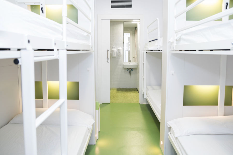 The and spacious drom of Sant Jordi hostel in Barcelona, Spain