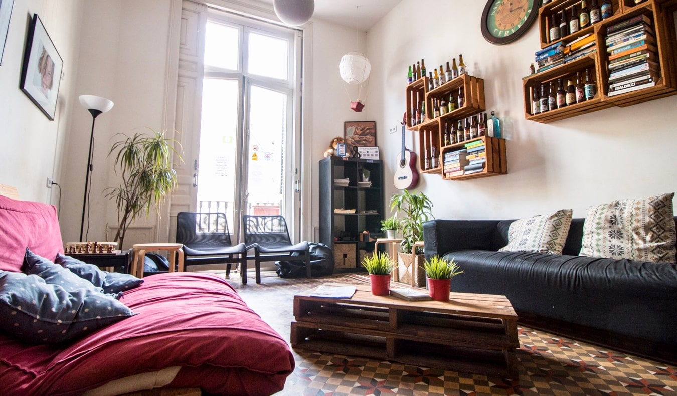 The common area of 360 Hostel in Barcelona, Spain
