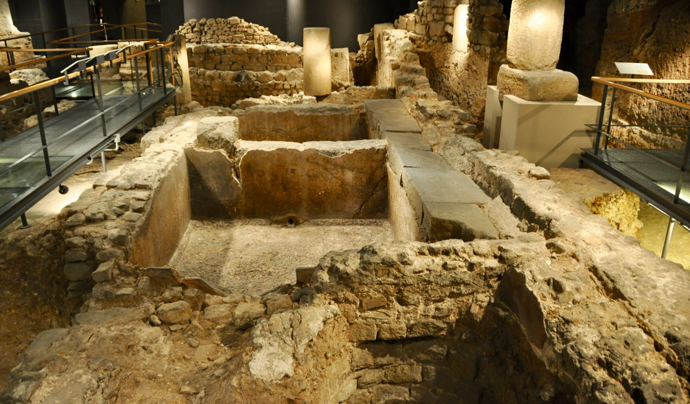 The ruins in the Museum of the History of Barcelona in Barcelona, Spain