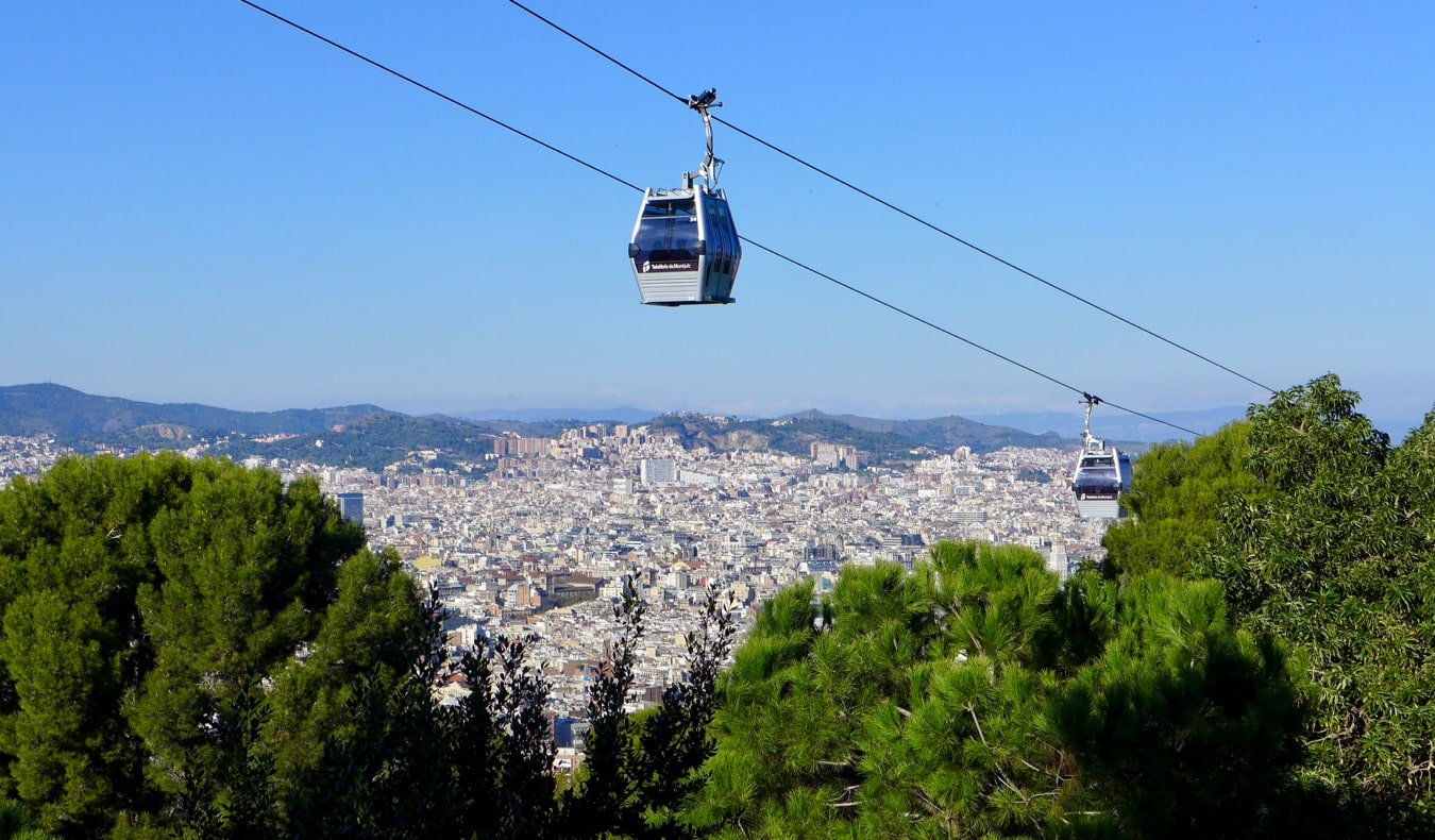 The cable car over Montjuic Hill in Barcelona, Spain