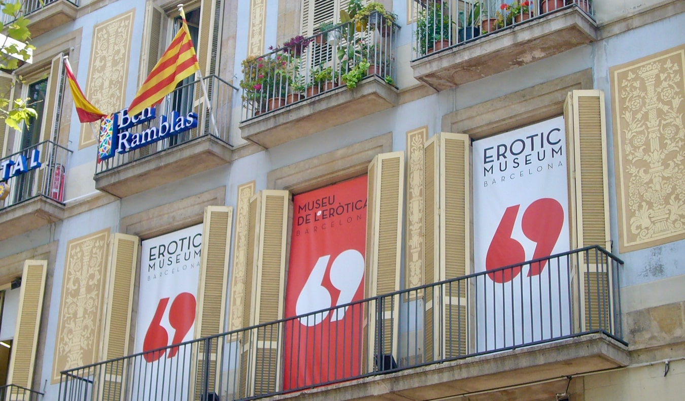 The exterior of the Erotic Museum in Barcelona, Spain
