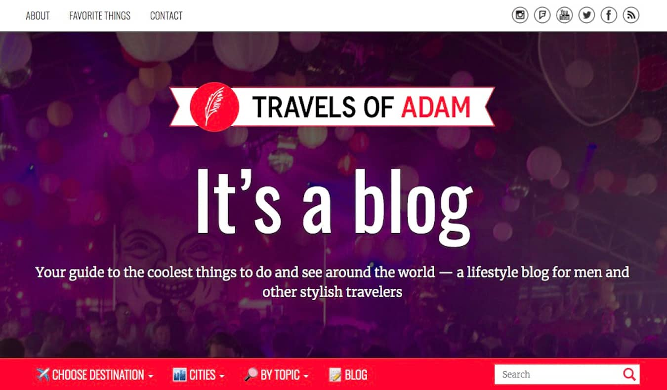 Homepage of the travel blog Travels of Adam