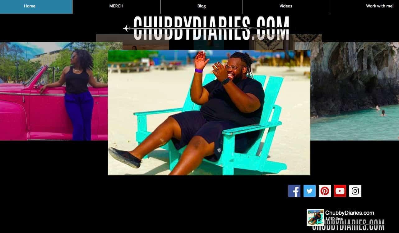 Homepage of the travel blog Chubby Diaries