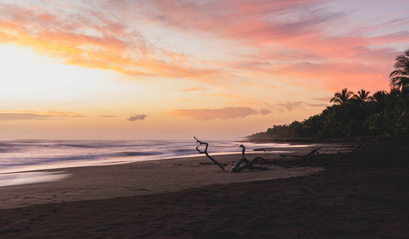 The picturesque beaches of Tortuguero, Costa Rica during sunset