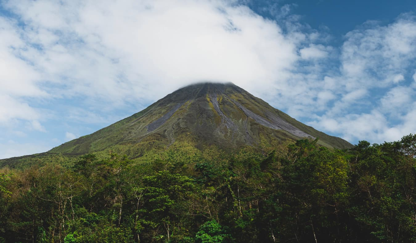 Mount Arenal surrounded by lush jungles in Costa Rica