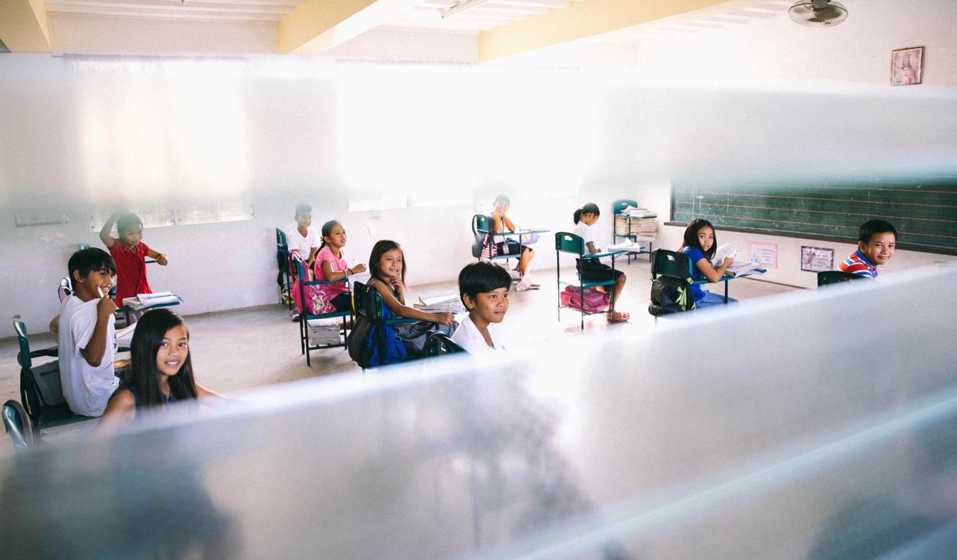 A classroom of kids in a school overseas