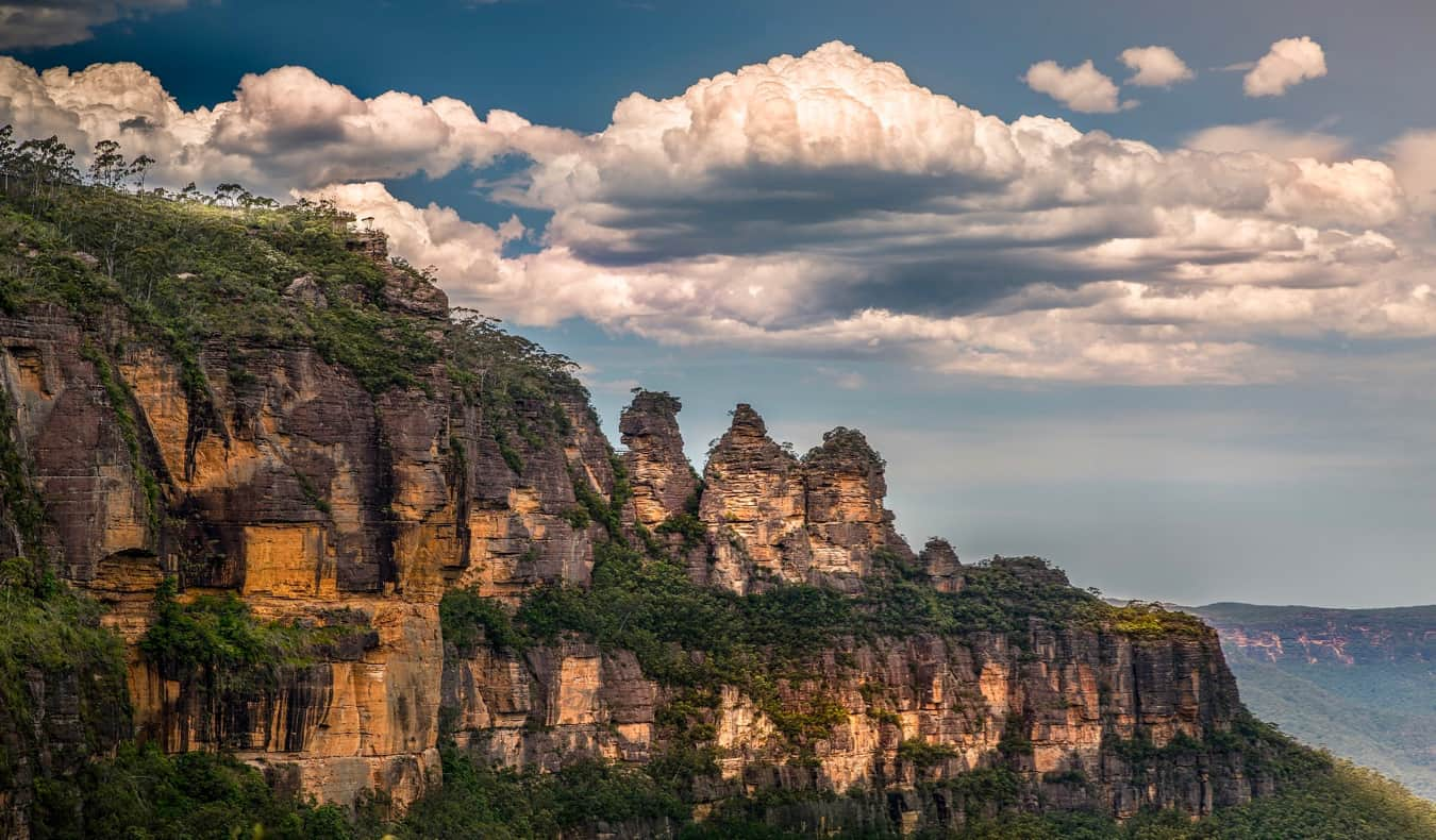The Blue Mountains near Sydney, Australia surrounded by rugged terrain