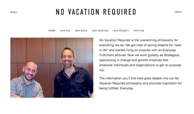 No Vacation Required guys blog screenshot