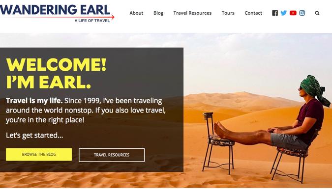 the wandering earl travel blog screenshot