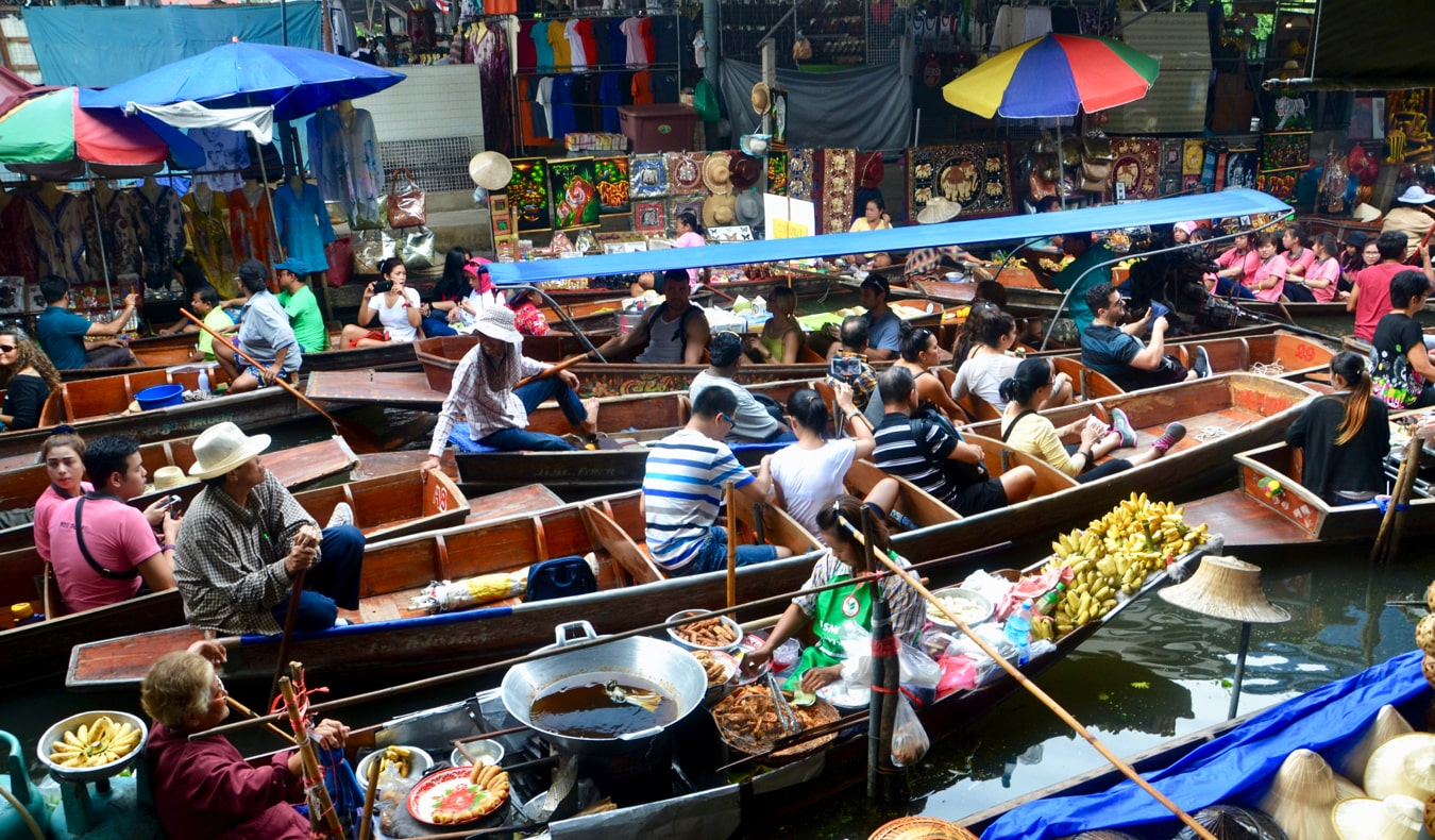 The busy floating market in Bangkok, Thailand