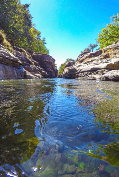 The calms waters of a canyon slot in Boquete, Panama