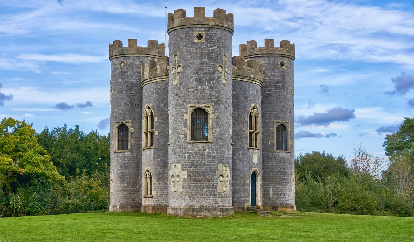 The exterior of Blaise Castle ina park in in Bristol, UK