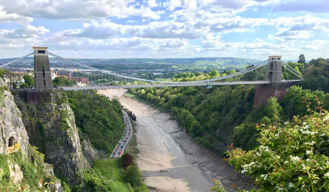 Looking out at the Clifton Suspension Bridge in Bristol, UK