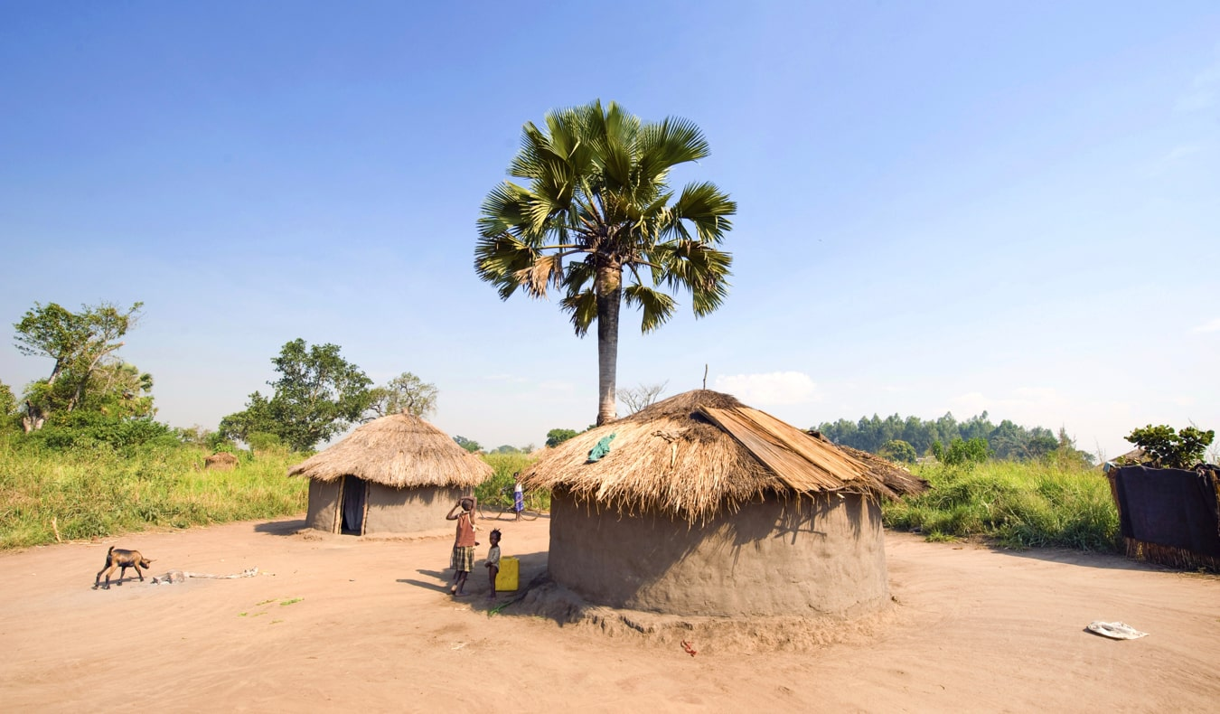 A small traditional hut in a village in Uganda
