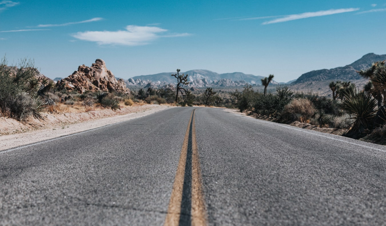 An open road in Joshua Tree National Park, California, USA