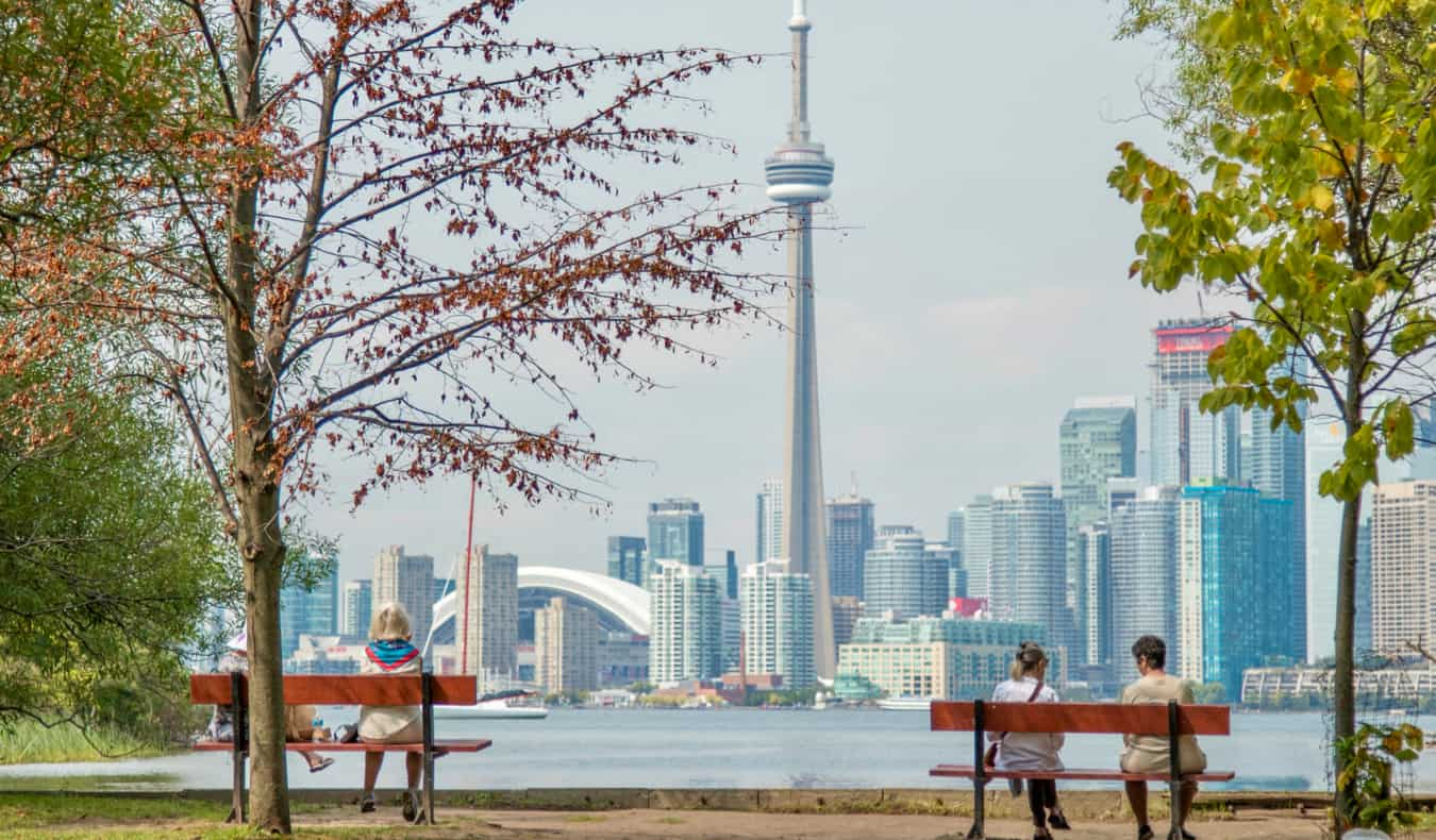 The iconic skyline of Toronto, Canada as seen from the island