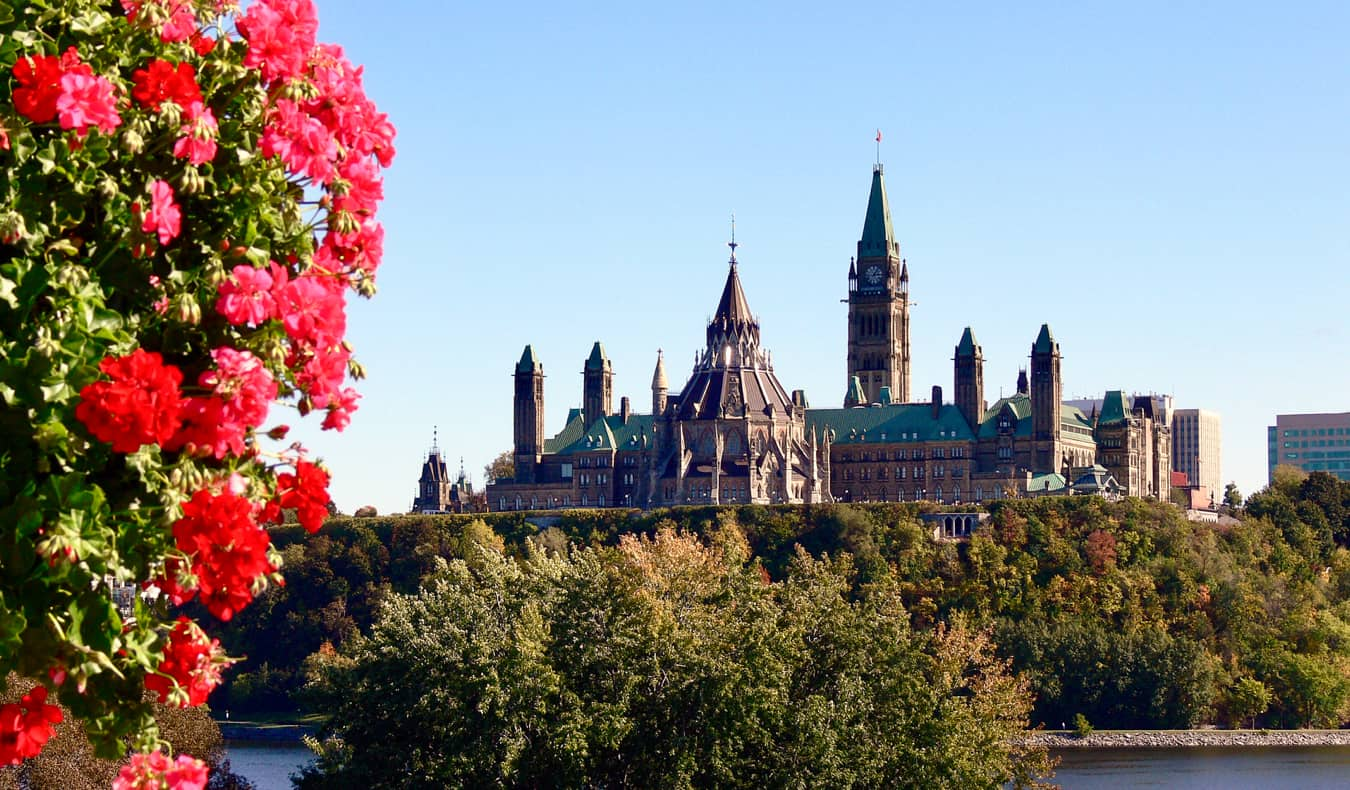 The Canadian parliament building in Ottawa, Ontario