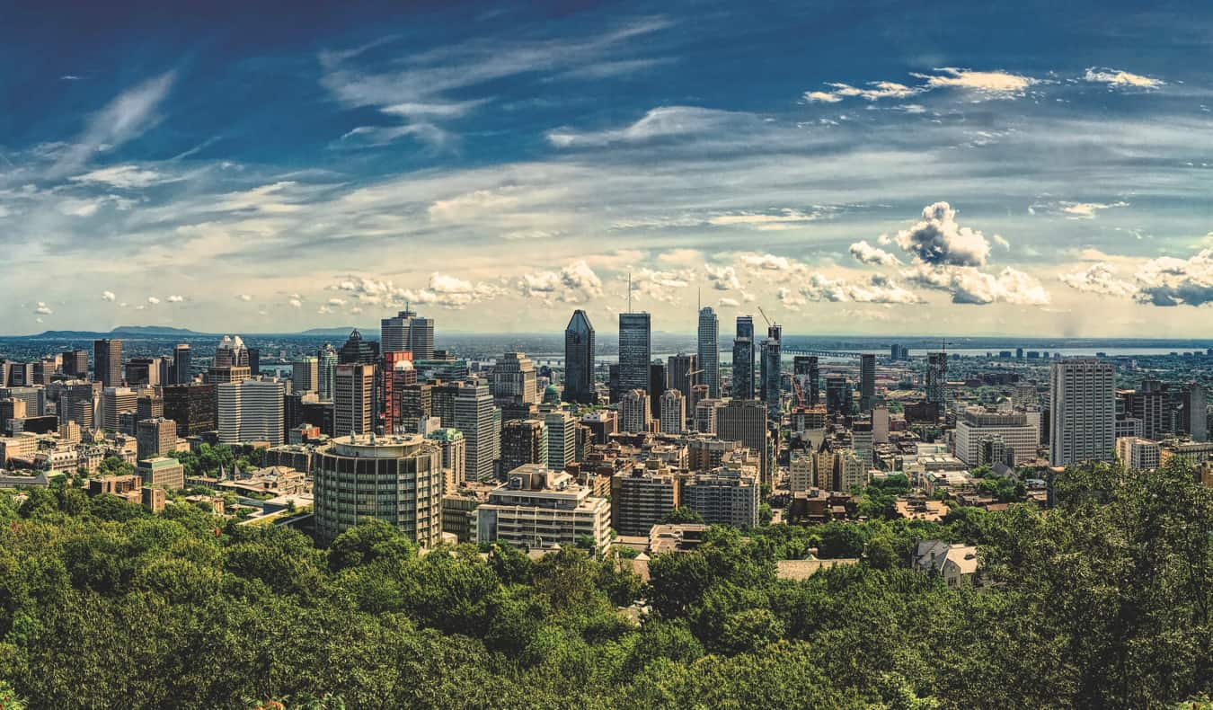The skyline of Montreal, Canada in the summer