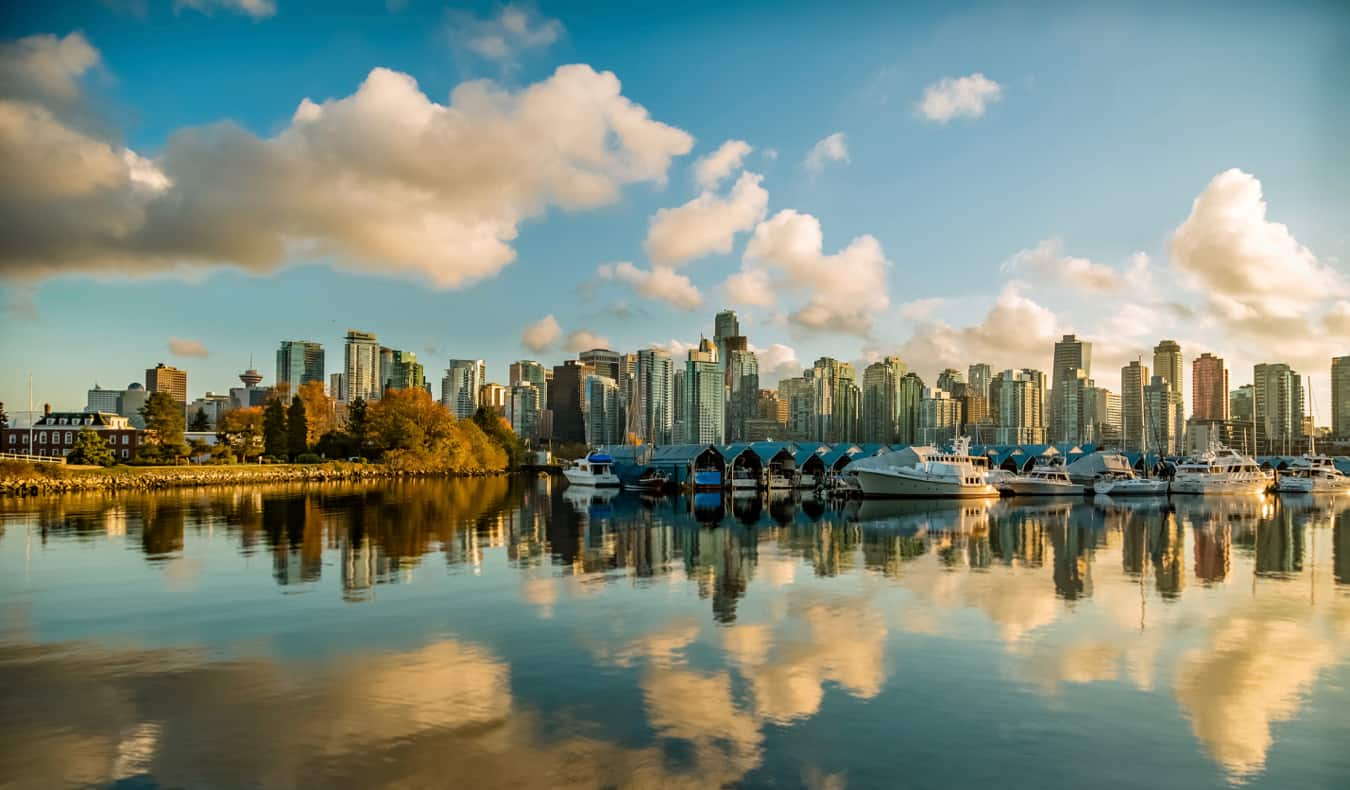 The towering skyline of Vancouver, Canada overlooking the ocean
