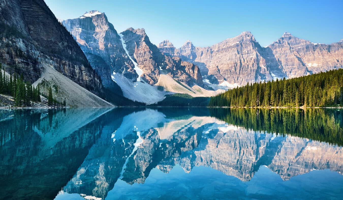 The vivid waters of Moraine Lake in Banff National Park, Alberta