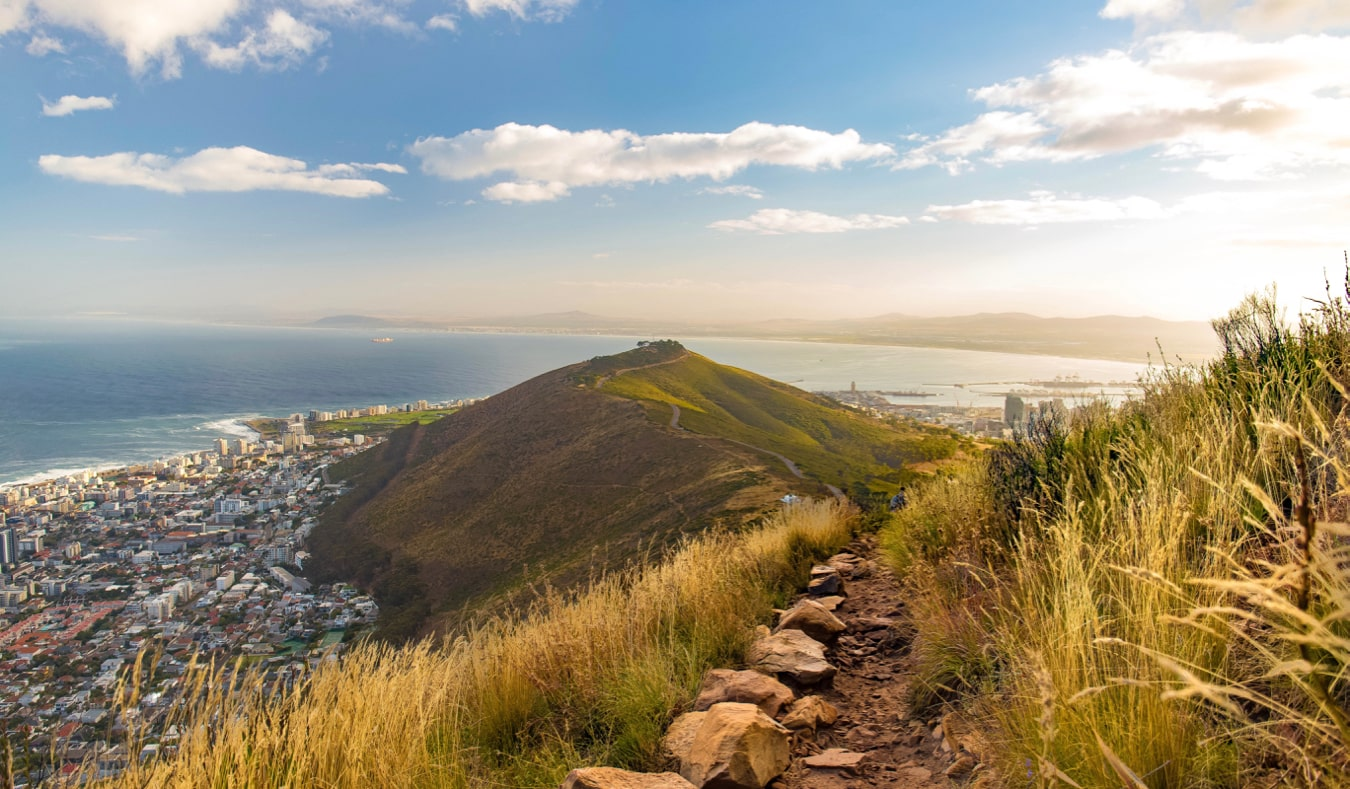 The narrow trail near the summit of the Lion's Head trail in Cape Town, South Africa