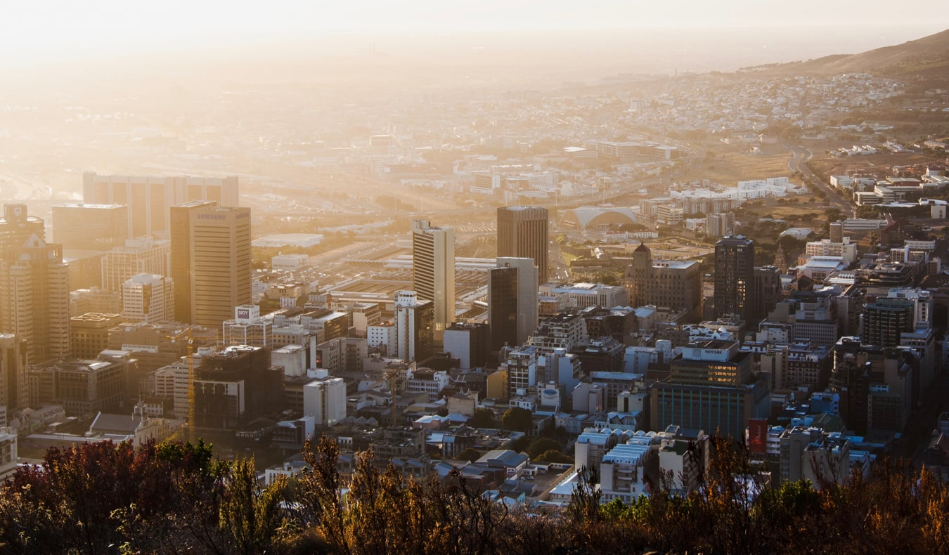 The skyline of Cape Town, South Africa during the sunrise