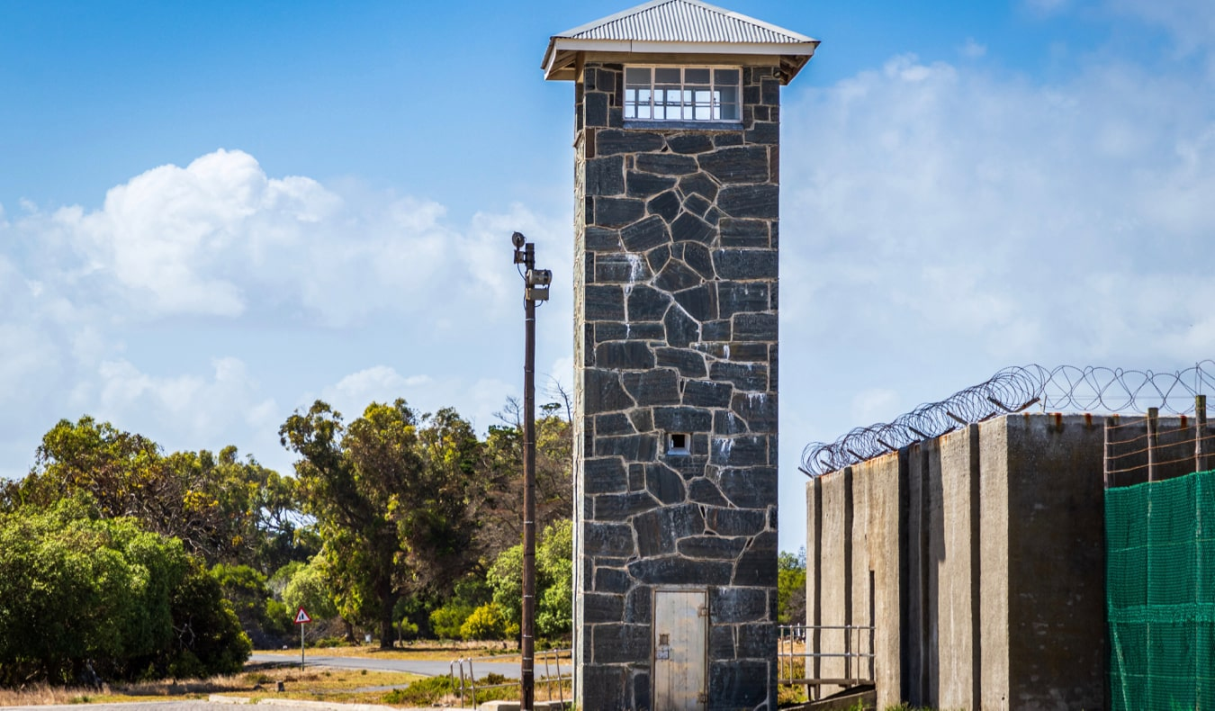 An old guard tower at the Robben Island prison in Cape Town, South Africa