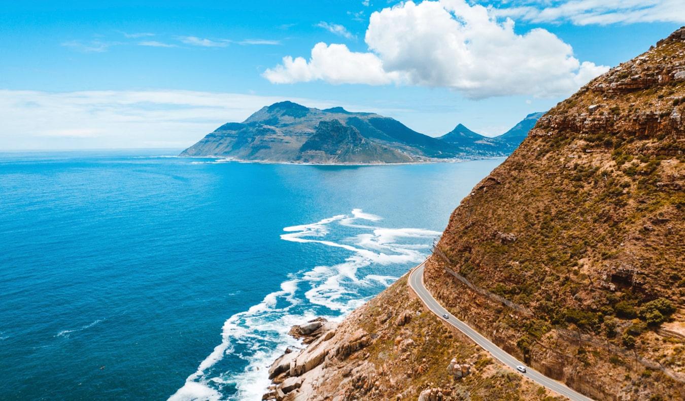 The winding coastal road along Chapman's Peak near Cape Town, South Africa