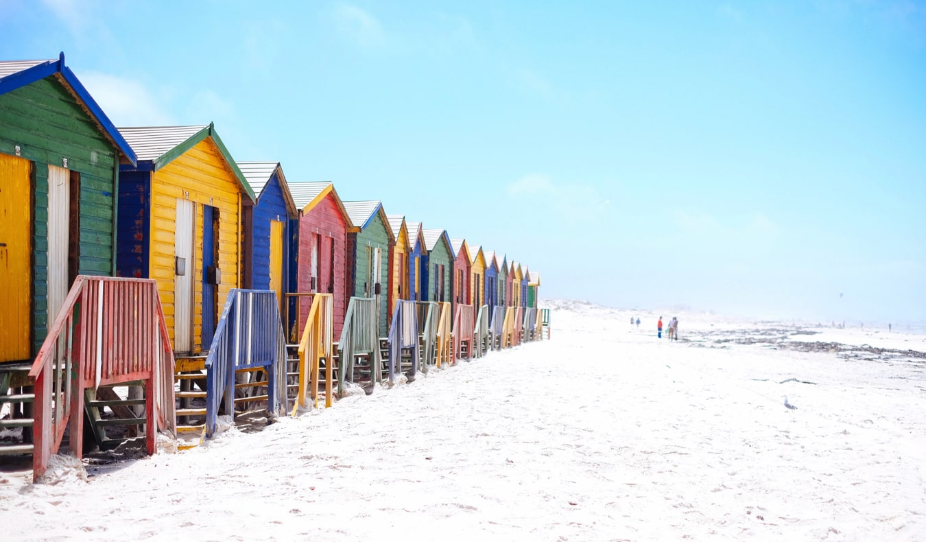The colorful buildings along Muizenberg Beach in Cape Town, South Africa