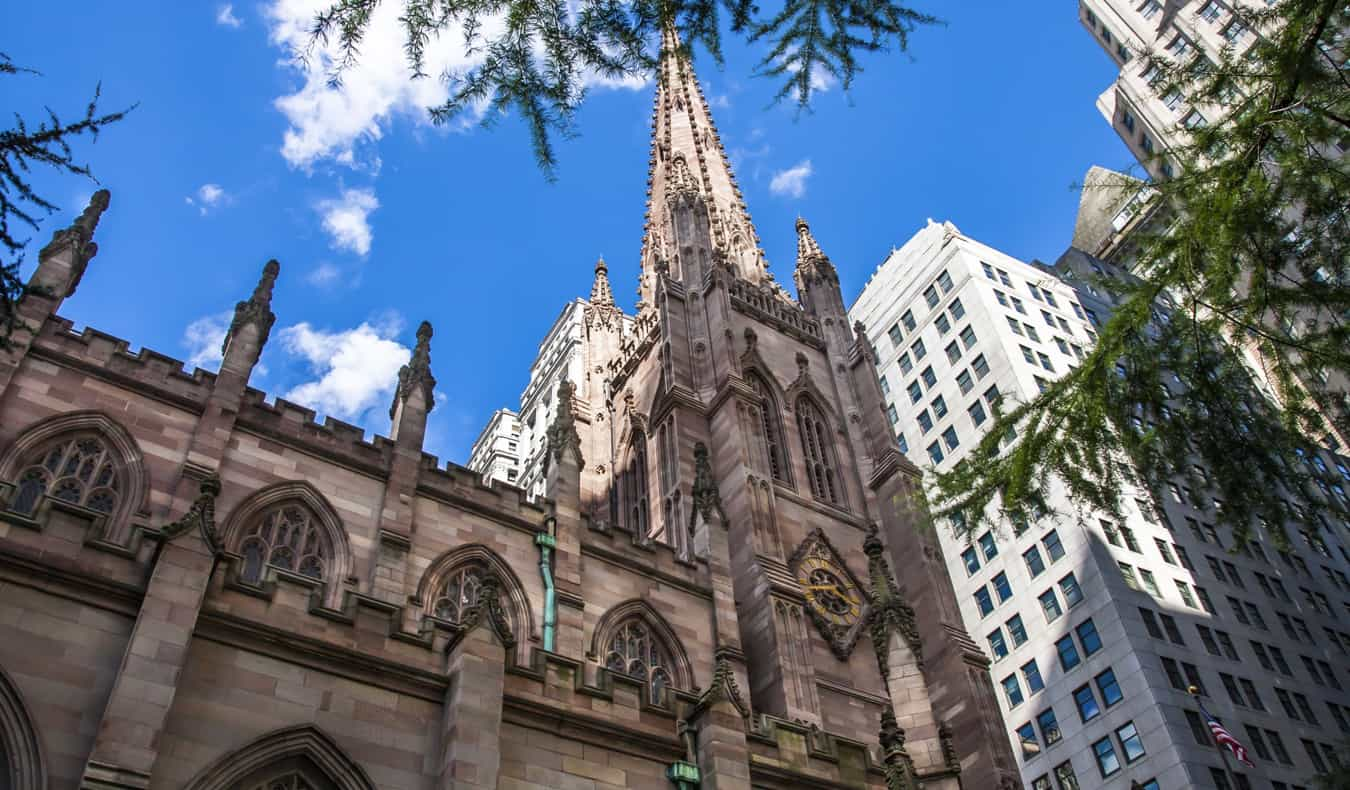 Trinity Church on a sunny day in New York City, USA