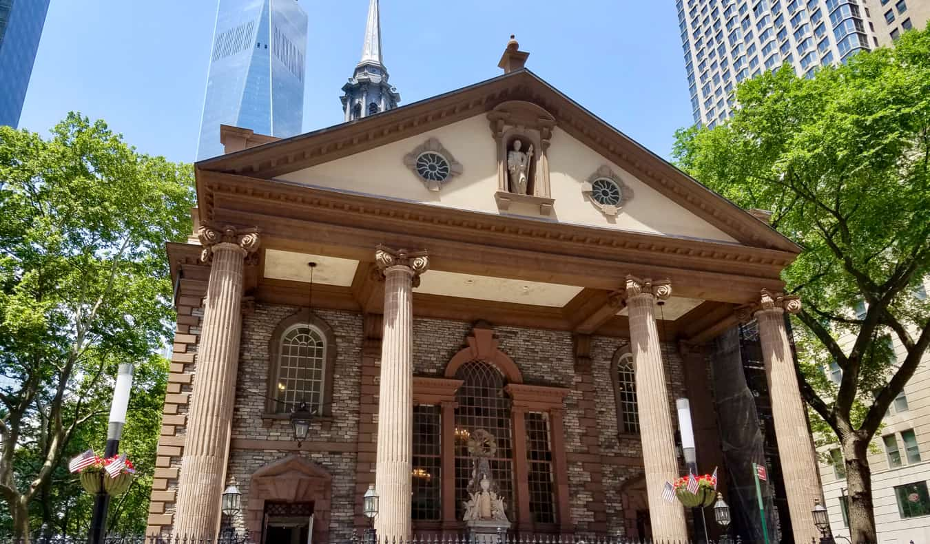 The exterior of St. Paul's Chapel in New York City, USA