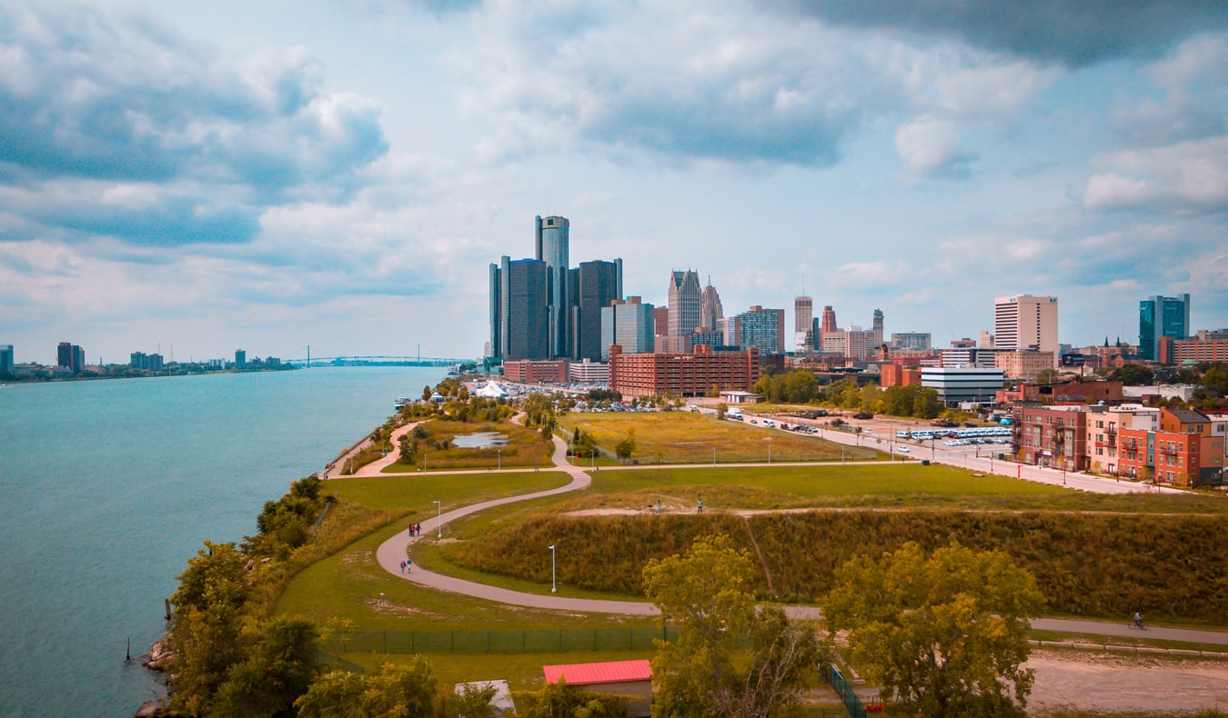 The downtown skyline of Detroit, Michigan during the summer
