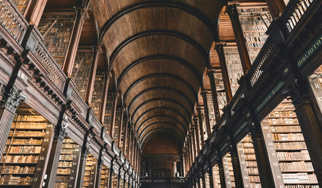 The interior of the world-famous library at Trinity College in Dublin