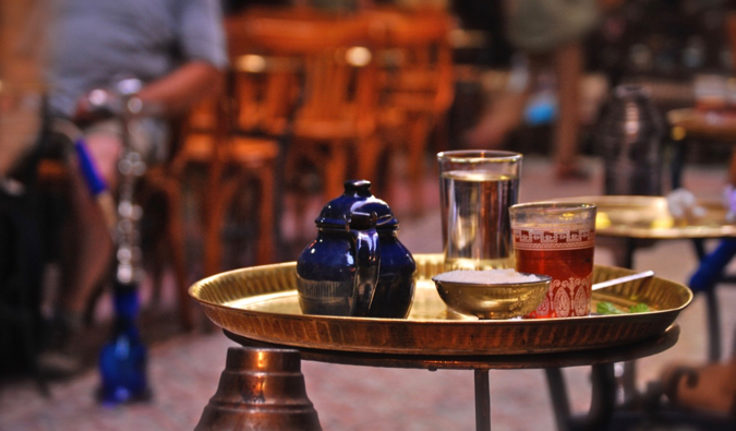 Traditional tea on a platter in Egypt