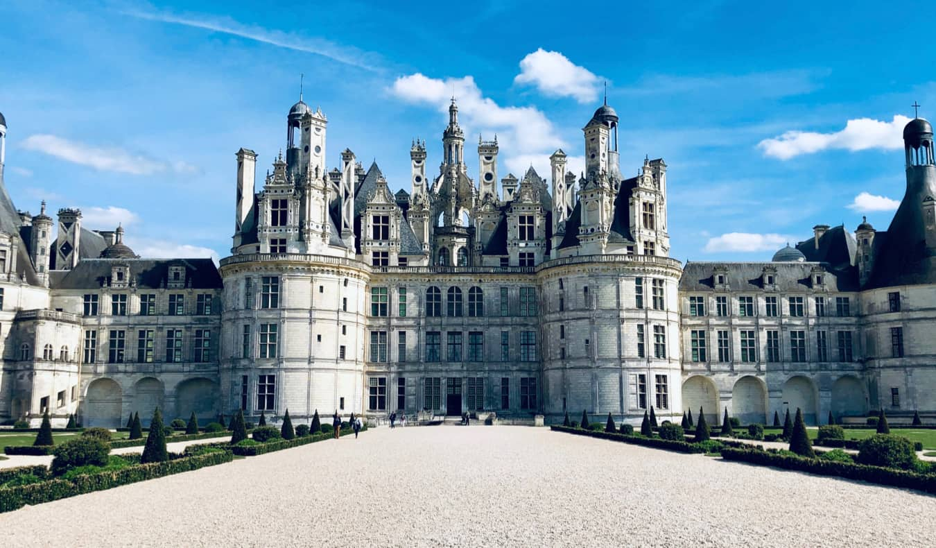 The historic Chambord chateau in France on a bright summer day
