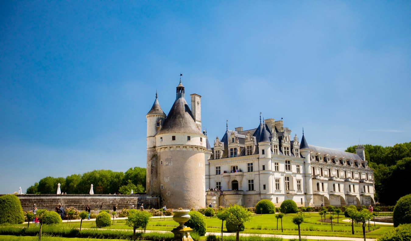 The famous Chenonceau chateau in France during the summer