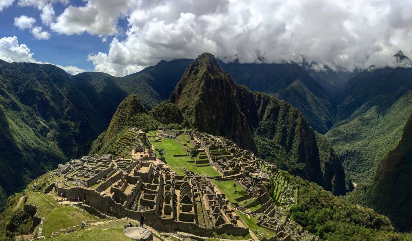 Overlooking the famous ruins and lush jungles of Machu Picchu in Peru