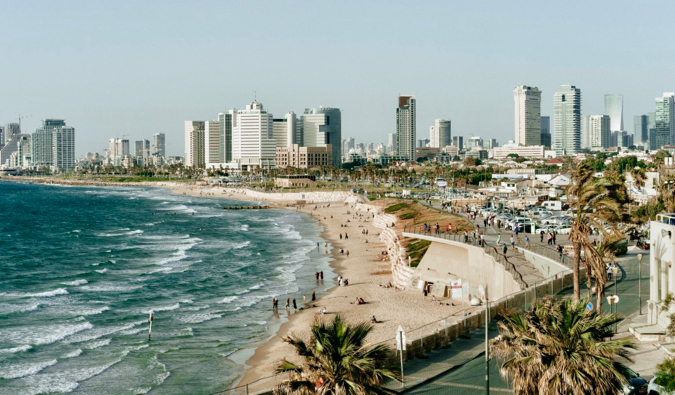 An aerial view of Tel Aviv and its coastline in Israel