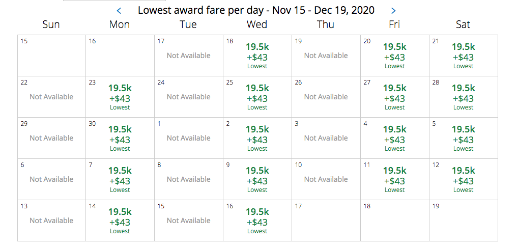 A screenshot of United miles for booking a flight to Madagascar
