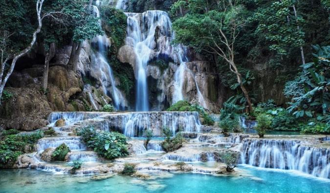 The famous waterfalls at Kuang Si in Laos