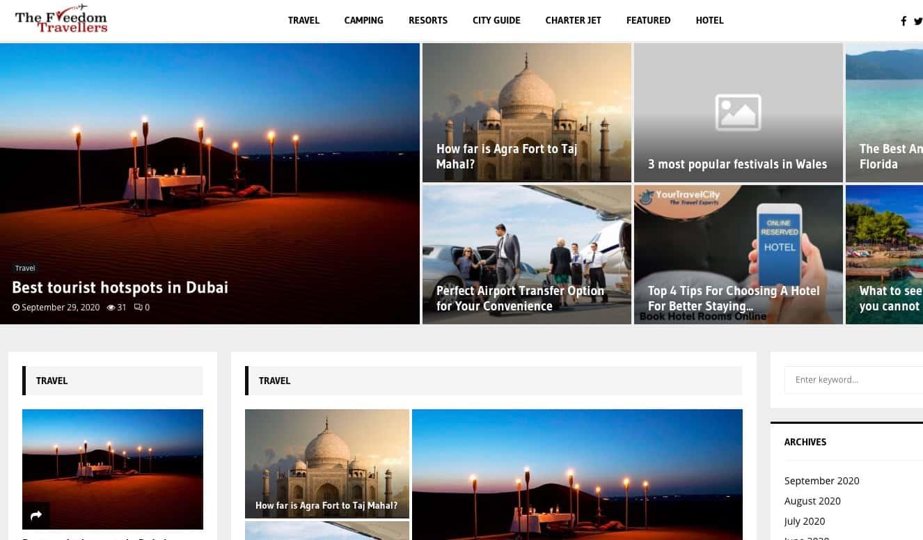 The Freedom Travellers website screenshot