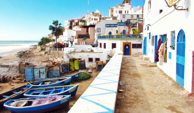 A narrow path along the coast in sunny Morocco